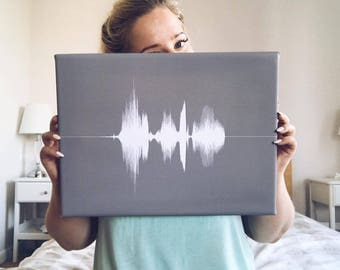Happy Birthday Perfect Gift Custom Sound Wave Anniversary Birthday Soundwave Waveform Canvas