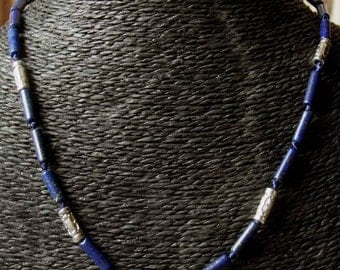 "Necklace: lapis lazuli and antique Tibetan silver, ""distant Asia"" Collection"