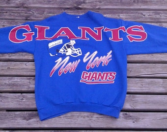 Vintage 80's / 90's New York Football Giants / all-over print crew-neck sweater / Made in USA Small