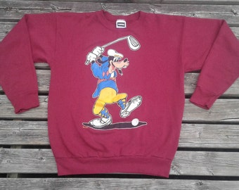 Vintage 80's / 90's Disney's Goofy Golfing Burgundy Crewneck Sweatshirt Made in USA by Tultex XL