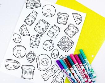 Kawaii Breakfast Foods Coloring Page - Adult / Kids / Cute Food / Digital Download / Printable