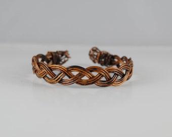 Wire half round braid bracelet, two toned wire braid bracelet in antique bronze wire