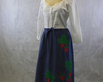 70's Strawberry Applique Blue Wrap Skirt | Size Large to Extra Large | Vintage Handmade Skirt | Midi Length | Below Knee | Bohemian | Hippie