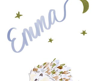 Personalized HedgeHog, Cute Name Hedgehog Illustration, Print at Home Kids, Printable Nursery Art, Custom Emma Baby Name, Art for Baby Room
