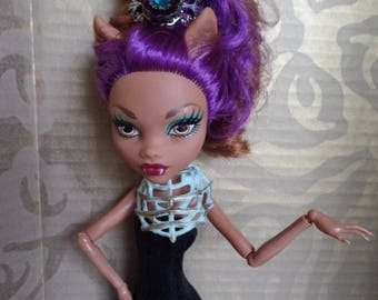 Exotic jewelled crown for Monster High BJD SD Ever After dolls, one of a kind handmade doll bling crown, Clawdeen Wolf doll crown