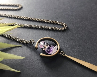 Ametrine Pendant Necklace // Unique Long Necklace // Natural Stone Necklace // Long Modern Necklace // Long Boho Necklace // Unique Ametrine