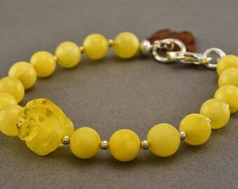 PERSONALIZED Butterscotch Baltic Amber Round Beads Sterling Silver Bracelet 7.8g