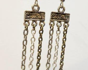 Multi Chain Earrings - Long Earrings - Geometric Earrings - Multi Color Chain Earrings - Everyday earrings - Hobo Style Earrings