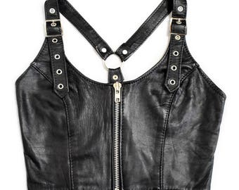 Vintage 80s Goth Fetish Punk Leather O-Ring Crop Top in Black Size UK6/8 XSmall