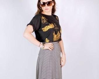Vintage black and white pleated skirt UK 8
