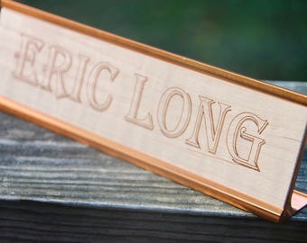 """Unique Name Plate - Office Gifts - Custom Engraved Wood - 8""""x2"""""""