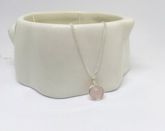 Rose quartz necklace, 925 sterling silver rose quartz pendant, silver rose quartz pendant, rose quartz jewellery, quartz pendant