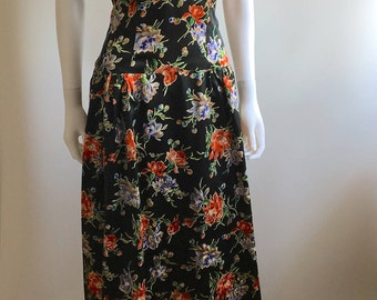 1940S Gown / Black Satin / Floral Print / S