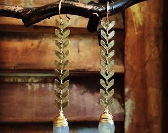 Labradorite Chevron Arrow Earrings