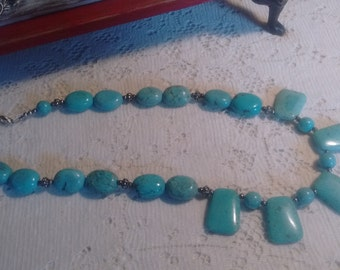 TURQUOISE NECKLACE-  9 inch length. Price reduced.