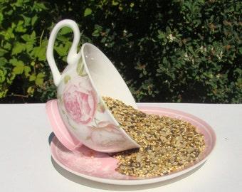Rose cup feeder – pink tea cup feeder – bird feeder – birds