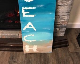 Beach sign / beach house decor / cottage sign / coastal decor / summer sign / teal sign