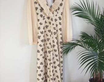 1970's Cream/Brown Floral Maxi Dress