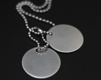 Brushed Stainless Steel Matte Silver Round Army Dog Tags with Matching Ball Chain Necklace