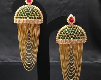 Indian Earrings - Chandelier Earrings - Pakistani Jewelry - Ruby Red and Emerald Green Earrings - Indian Jewelry - Bollywood - Bridal - Desi