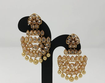 Indian Jewelry - Indian Earrings - Kundan Jewelry - Kundan Earrings - Bollywood Jewelry - Bollywood Earrings - Chandbali Earrings