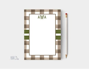 Notepads-personalized/Gingham monogramed Personalized notepads/Custom Notepads/writing pad/teacher gift/bridesmaid gift/personalized writing