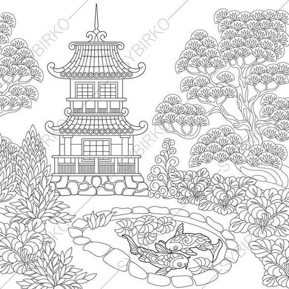Japanese Coloring Book Pages. Japanese Garden  Coloring Pages book pages for Kids and Adults Instant Download Print Chinese Pagoda