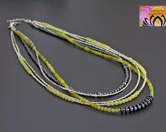 Peridot Hematite Multi Strand Necklace-Gemstone Necklace-Maternity Pregnancy-Boho Chic Elegant Jewellery-Layering Necklace-Czech Glass-Gift
