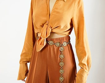 Orange Silk Button Up Blouse / XS / S / M