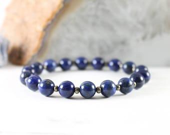 Custom Lapis Lazuli Bracelet with Pyrite - Dark Blue Stone Bracelet - Genuine Lapis Lazuli - Pyrite Bracelet - Gemstone Stretch Bracelet