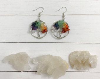 Silver Multi Gemstone Tree of life Earrings, gemstone  earrings, Birthstone  earrings, tree Earring,Birthstone, Dangle earrings, Boho, Girly
