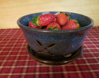 Floating blue pottery berry bowl