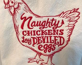 Embroidered Flour Sack Kitchen Towel