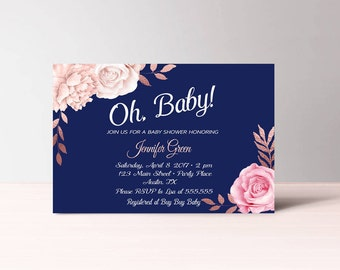 Oh Baby Shower Invitations Gender Neutral, Navy Rose Gold Baby Shower Invitation Printable, Instant Download, Pink and Blue Invitation