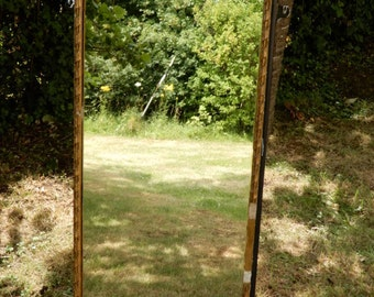 SOLD Old Beautifully Distressed Hall Mirror-Black and Gilt painted Wood