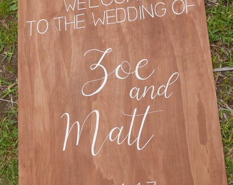 Welcome sign for wedding and events | wooden rustic sign + chalk lettering/ custom calligraphy | for reception or ceremony