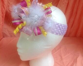 Purple,pink &white elastic headband