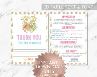 Instant Customizable Gold Pineapple Watercolor Fashion Consultant and LLR Thank You and Care Instruction Cards TEMPLATES