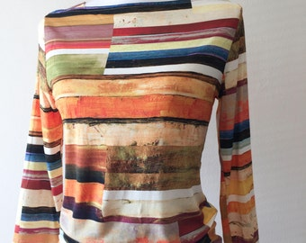 Vintage 90s Multi Color Jersey Sleeve Top // Peck & Peck 90s Geometric Striped Boatneck Knit Top // Size Small