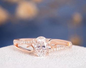 Unique Moissanite Engagement Ring Rose Gold Oval Cut Antique Wedding Ring Diamond Vine Eternity Flower Retro Anniversary Promise Women