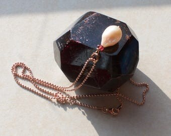 Rose'-gold-plated chain with Pearl 'Claudia'