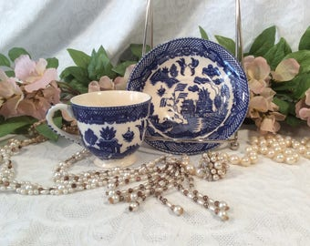 "Occupied Japan Willow ""Flow Blue"" TeaCup and Saucer"