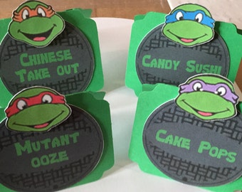 ninja turtles food labels, ninja turtles party labels, ninja turtles tent cards, TMNT, TMNT decor, Place Cards, Food Labels,Ninja Turtles
