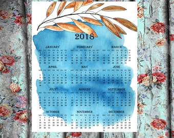 Large wall calendar 2018 one page printable calendar wall calendar calendar 2018 floral calendar  12 month calendar wall decor calendar