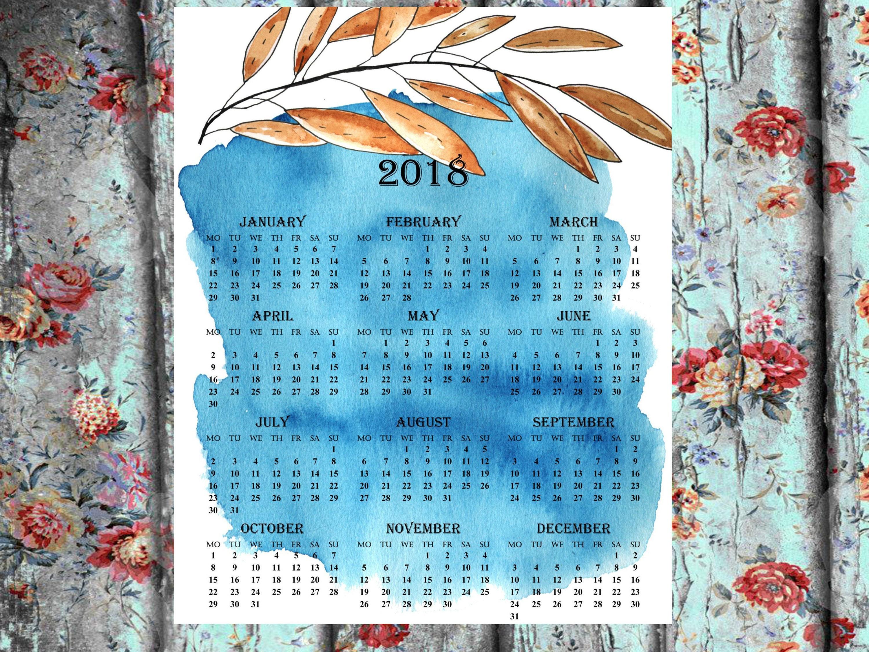 printable calendar 2018 one page