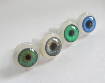 Pair Grey\Blue\Green Doll Eyes, Realistic Doll Eyes 10 mm, BJD, Craft Doll Eyes