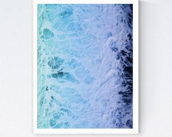 Ocean poster, ocean photo, blue water, ocean photography, ocean wall art, ocean wall decor, nature photo, blue sea, water splash, room decor