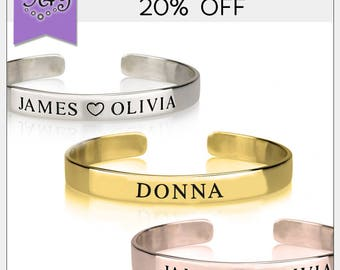 20% OFF* Personalized Bangle • Custom Name Bracelet • Personalized Message Cuff • Friendship Bracelet • Gold, Silver, Rose Gold Bracelet