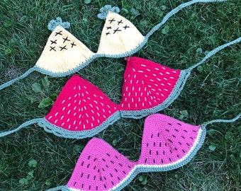 Strawberry, Watermelon, & Pineapple Fruity Crochet Bikini Top