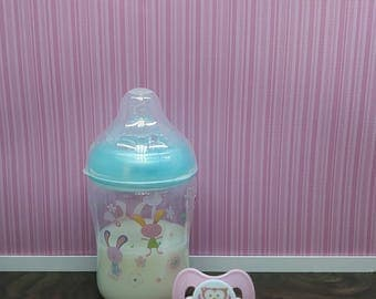 Reborn Baby Bottle and Reborn Magnetic Pacifier or Reborn Putty Pacifier Sealed Reborn Bottle with Fake Milk For Reborn Babies or Realborn